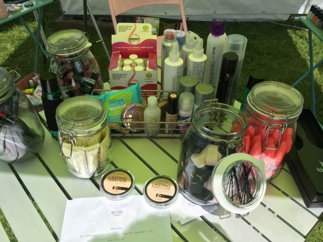 Just some of the bits we were selling: Collection Mascara, Crabtree Hand Sanitiser and Lip Balm, Eyeliner, Hairbands and Powder