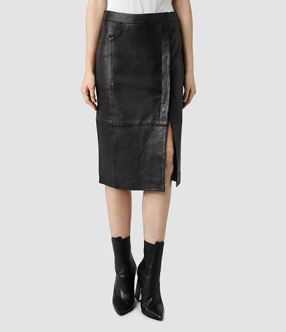 All Saints Levitt leather skirt