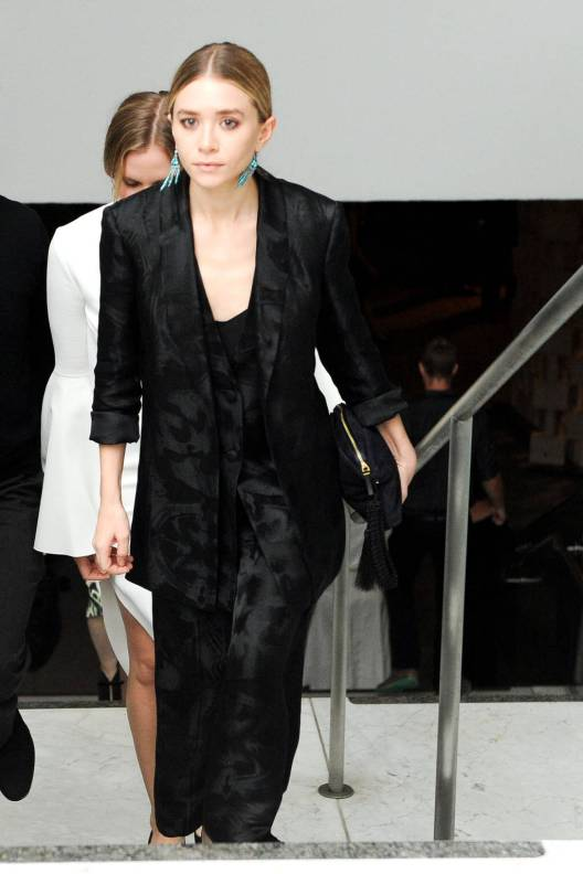 Ashley Olsen's slick centre parted bun at the Hammer Museum gala
