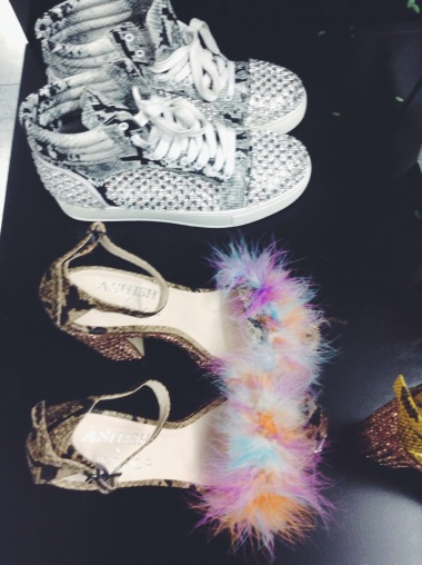 Snakeskin and fur topped platforms and snakeskin high tops, what's not to like?
