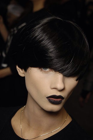 Throw back to AW08 with Yves Saint Laurent's black bob and matching black lipstick.