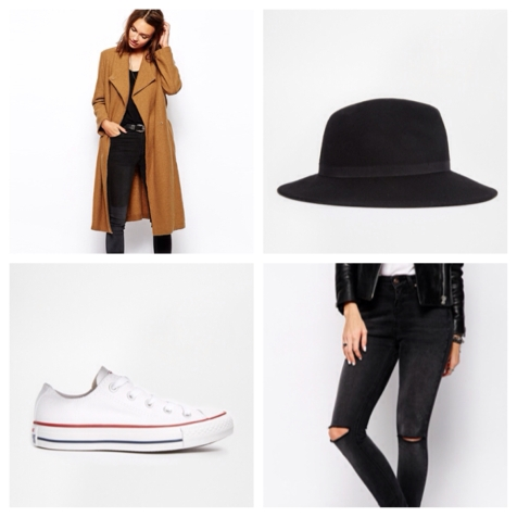 It doesn't get more classic that white converse and skinnies. Ripped jeans are everywhere at the moment. Set yourself apart with this belted coat and River Island trilby