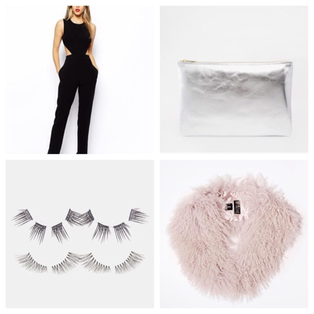 This jumpsuit is the perfect easy evening outfit, dress up with ASOS's mongolian fur stole and this American Apparel clutch