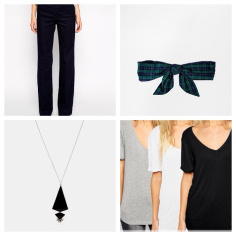 This drop pendant necklace does the travelling for you, go seventies with these flared Mango jeans. Tuck in a tee and pop a bow in your hair to jazz things up