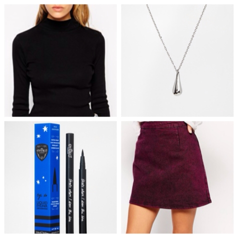 Channel the 60s with this polo, Eyeko liquid eyeliner and this distressed denim A-line mini