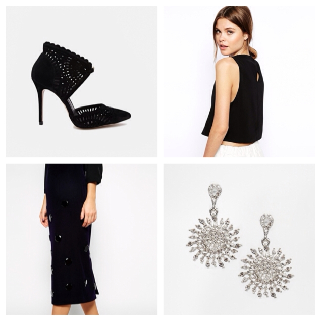 This embellished pencil skirt is so Miu Miu, pair with this high neck top, and chandelier earrings for laid back luxe