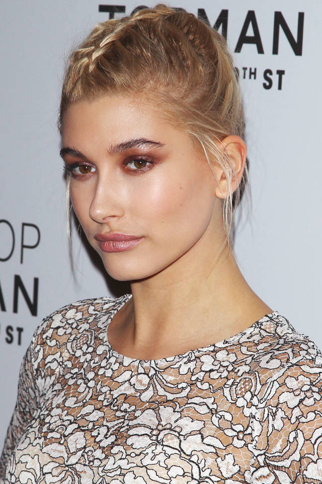 Hailey Baldwin's double french braid joins in the middle and is the perfect display of plait artistry