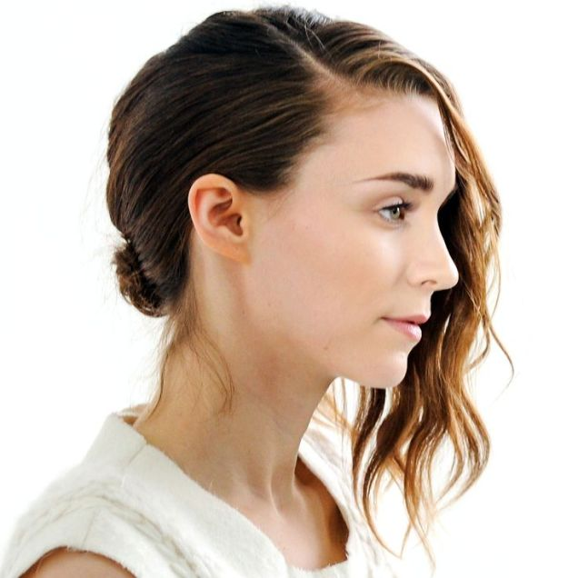 Rooney Mara's low bun and curly side part is the perfect up do for a tousled bob.
