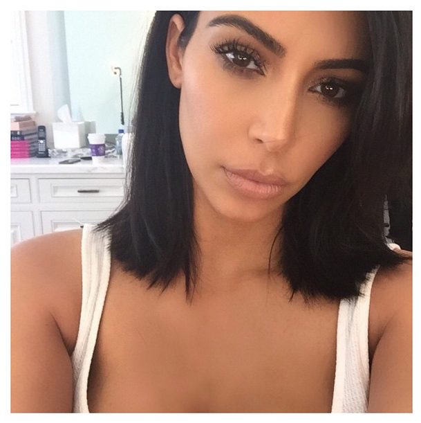 Kim's the latest celeb to chop off her locks. We love the blunt ends.