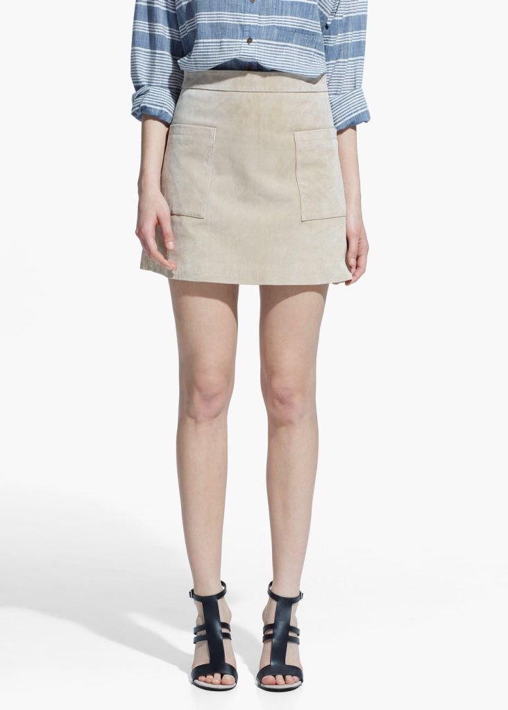 cream suede mini skirt with pockets