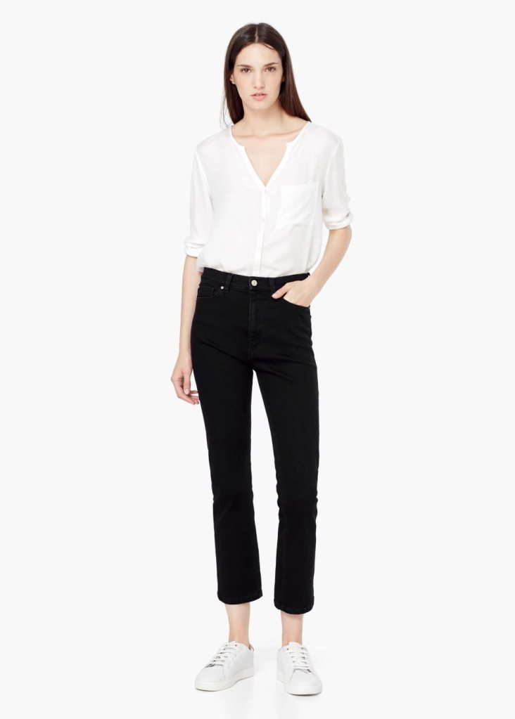 Mango high black cropped jeans