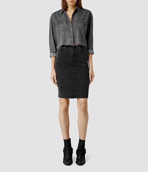 Mid length denim skirt all saints