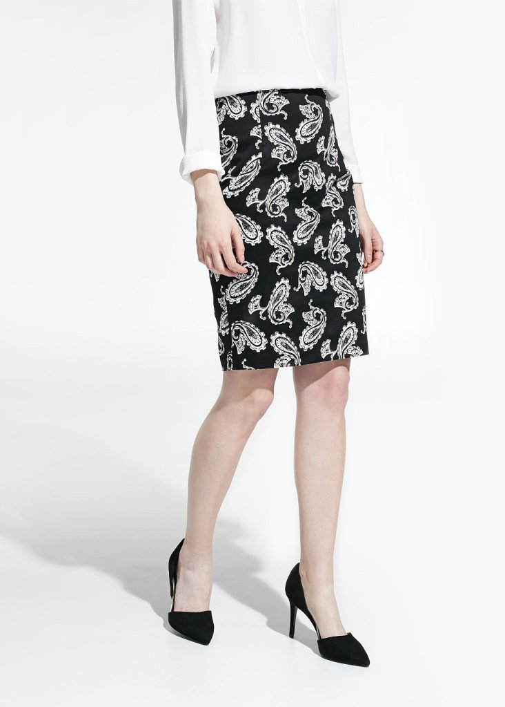 paisley print knee length pencil skirt