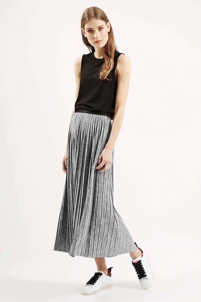 pleated metallic maxi skirt