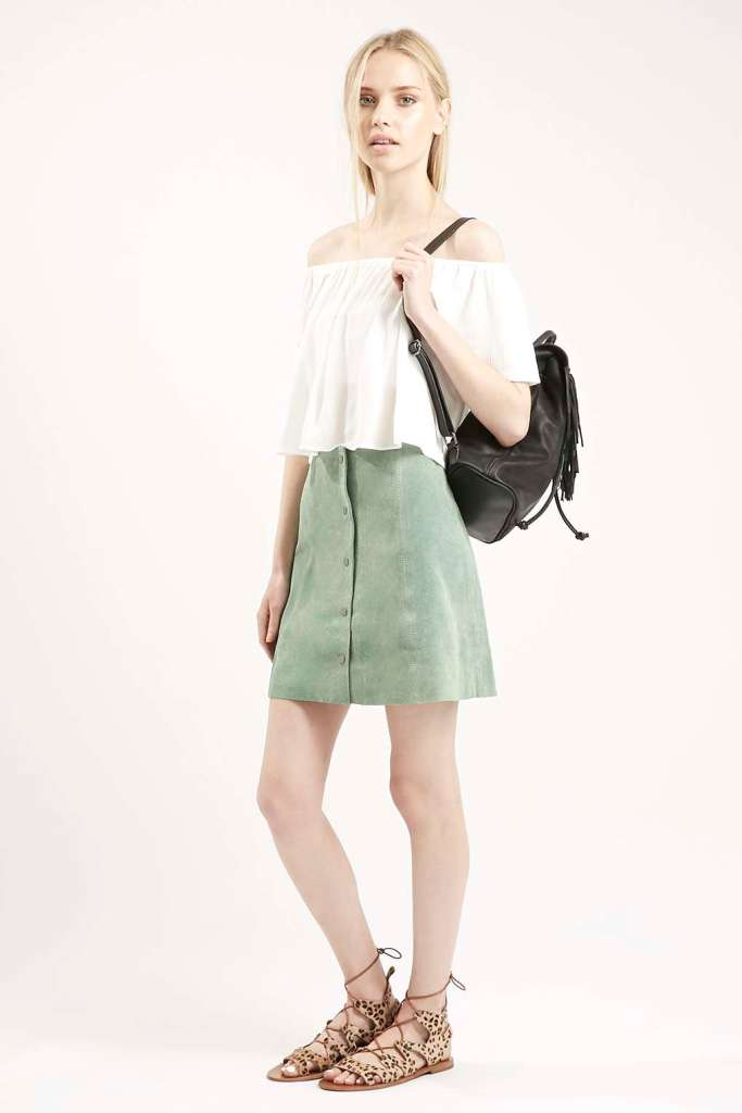suede aline mini skirt mint
