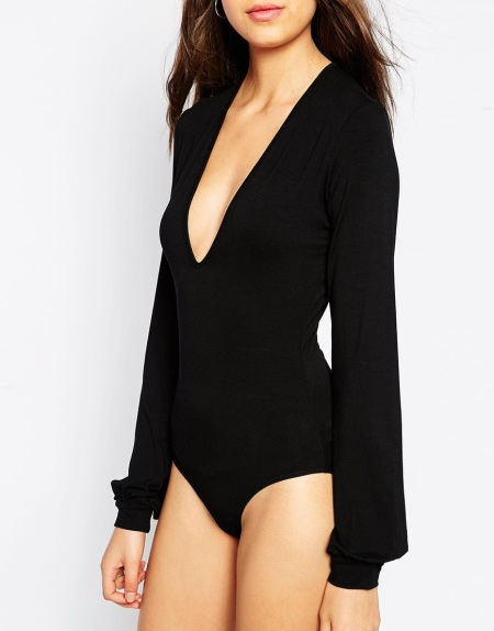 Tall Plunge long sleeve body black asos