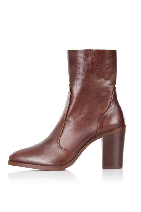 Topshop brown leather ankle boots