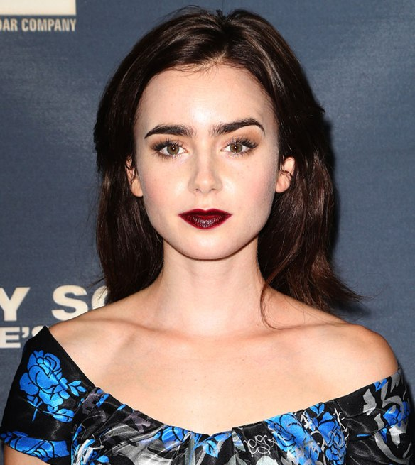 Lily Collins opt for a glossier finish