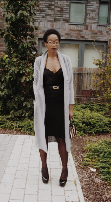 Topshop grey wool trench, Vintage Gucci belt, Lace chemise M&S