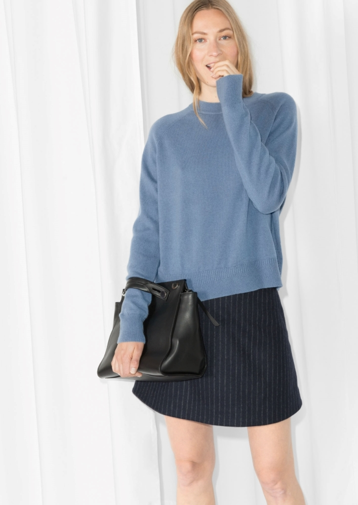 other stories cashmere baby blue sweater