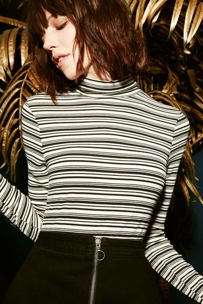 striped skinny polo neck urban outfitters