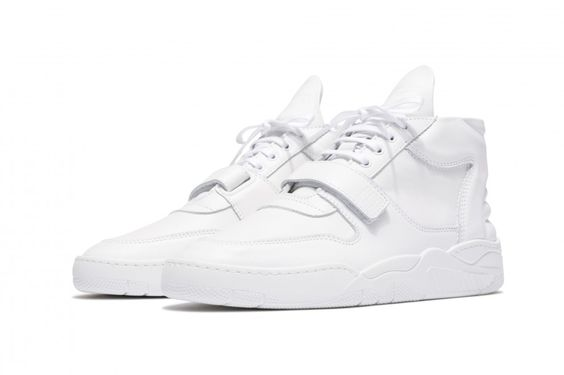 filling pieces mid top white trainers