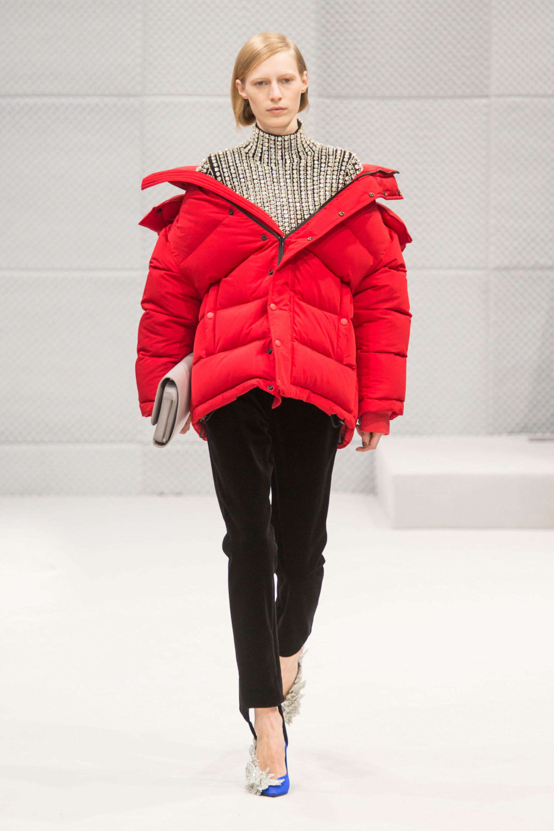 Red puffa jacket Balenciaga AW16