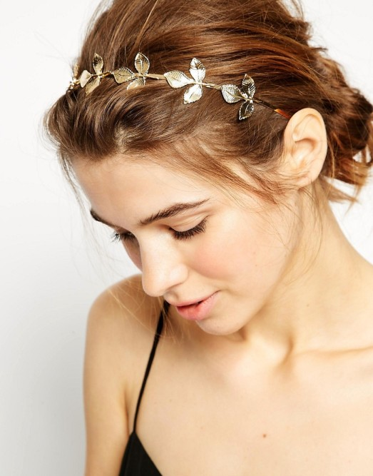 Gold leaf headband hairband asos