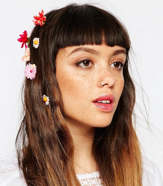 Multicoloured flower petal hair slides asos festival hair ideas inspiration