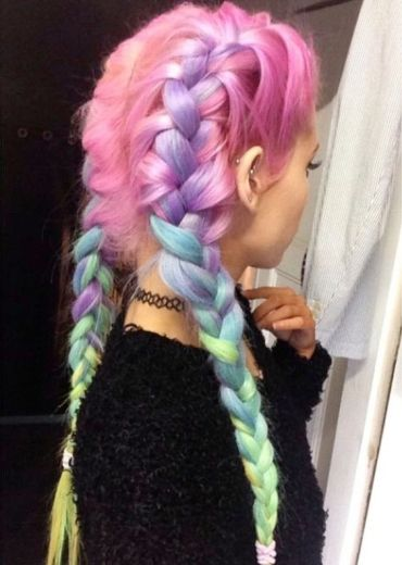 festival hair dye french braids rainbow colour