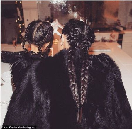 kim kardashian and north west french braids