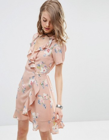 asos wrap front tea dress ruffles