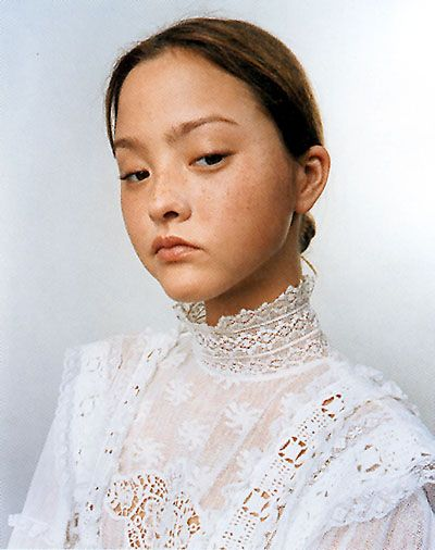 devon aoki white lace bouse