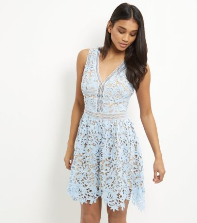 new look pale blue ladder lace skater