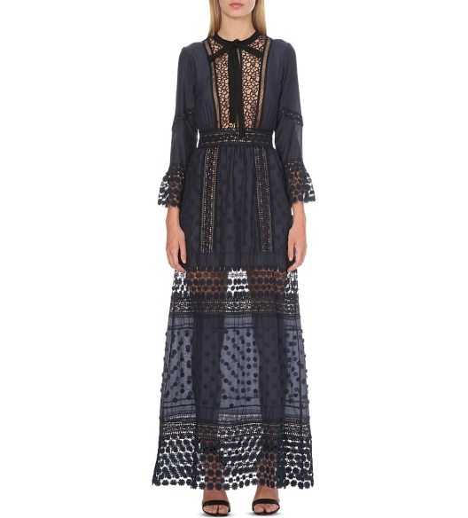 Selfridges self portrait lace long sleeved pleated dress