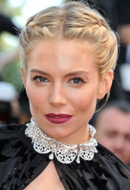 sienna miller beauty victorian up do braids dark lips