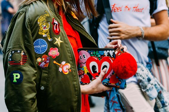patch bomber jacket street style