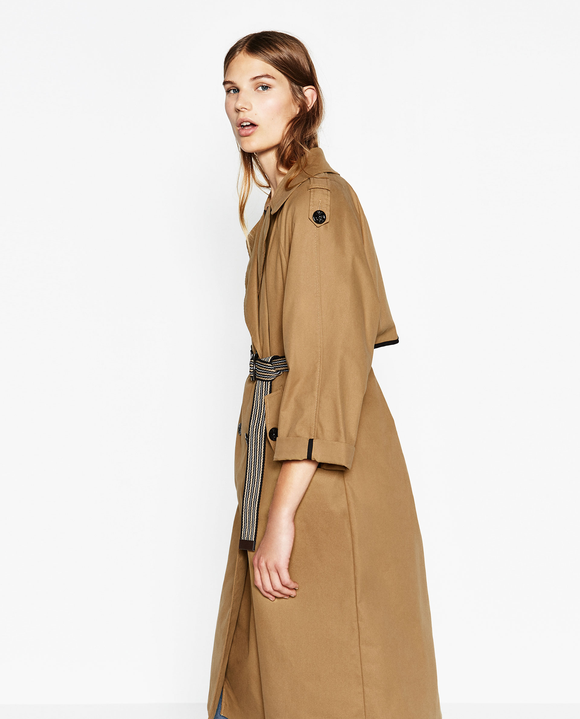 Camel Trench coat belted zara classic