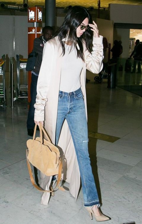 KEndall Jenner Silk trench and jeans style
