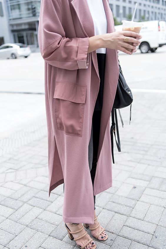 Pink duster coat street style get the look