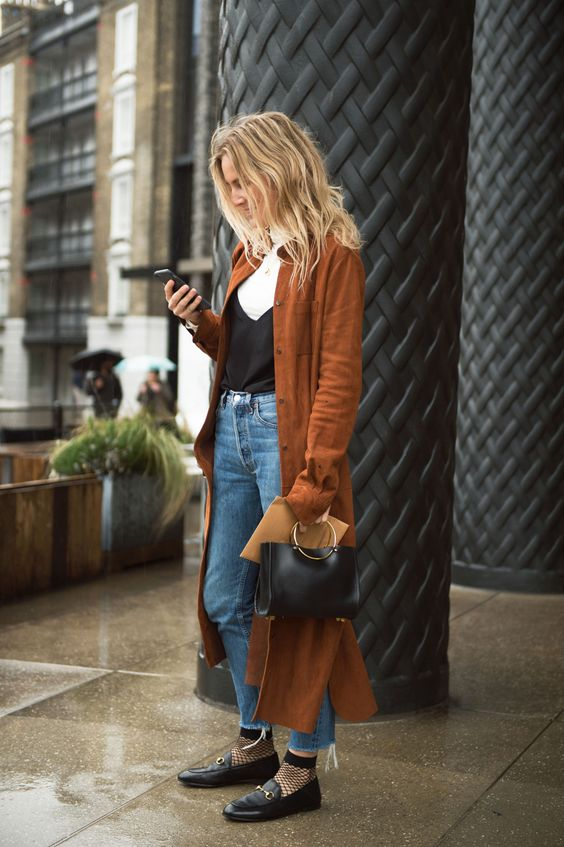 Street style trench coat brown long gtl