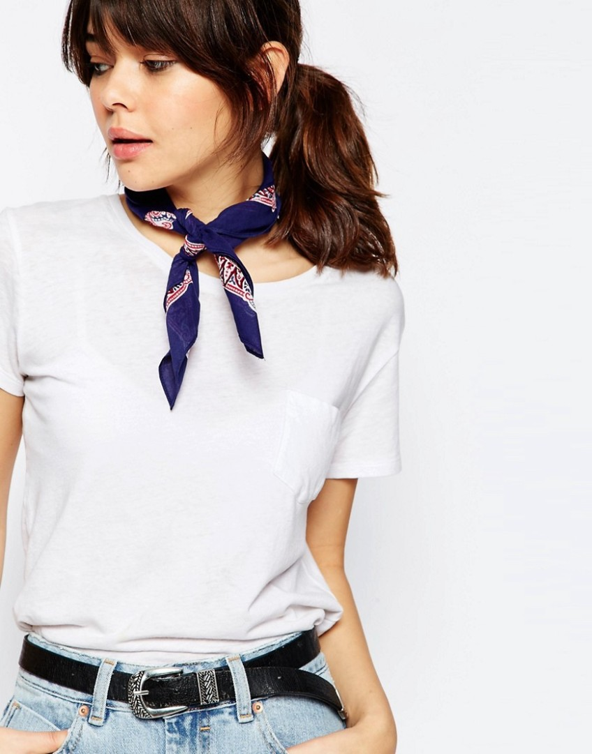 thelma and louise asos blue red bandana