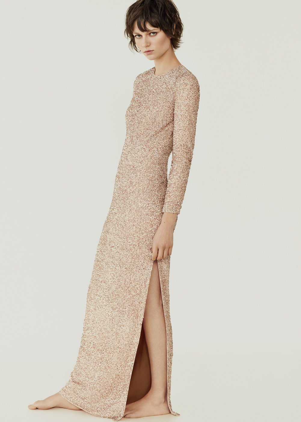 elegant-nude-sequin-gown-dress-long-sleeve-slit