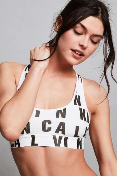 Calvin Klein Logo Bralette Crop Top Black and White