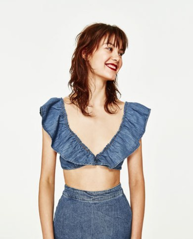 denim ruffle crop top festival