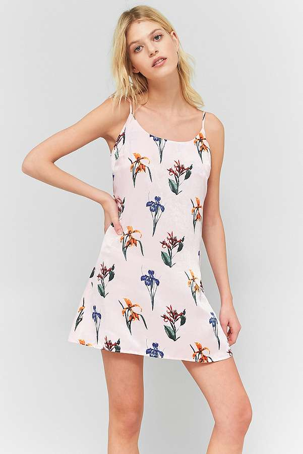 ed1909f4aace9 floral pink slip dress