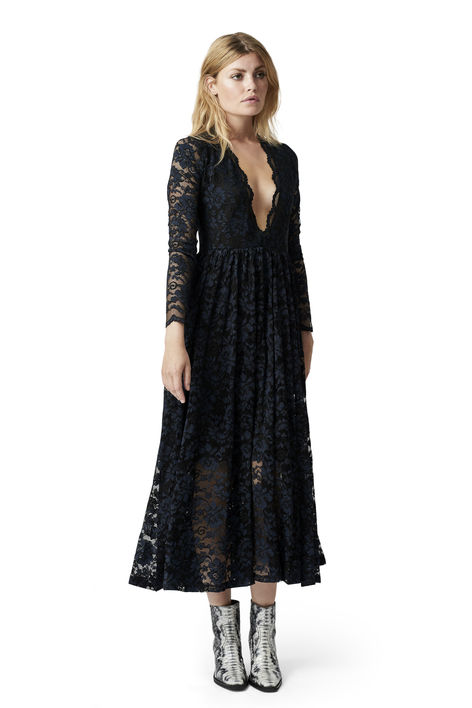 Long black lace Dress Ganni Summer Event
