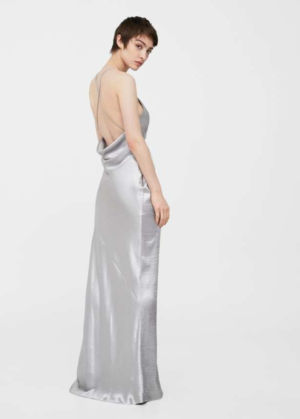 Metallic Silver Slip Dress Long Gown