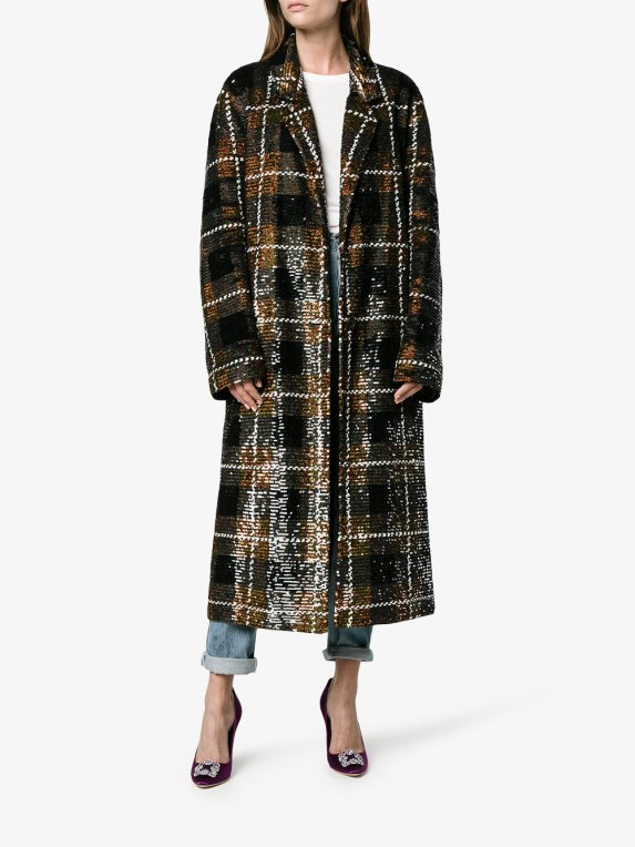 Ashish Plaid Sequin Coat