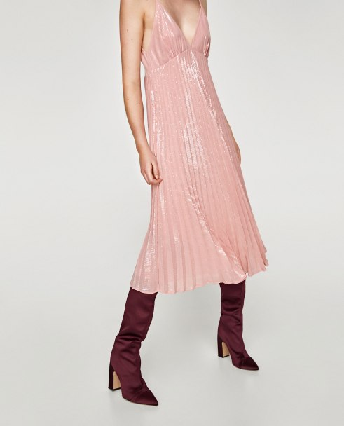 Zara Pink Pleated Sequin Midi Dress